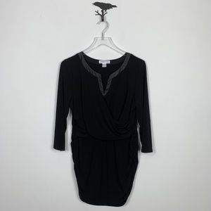 Motherhood Maternity Black Drape Front Tunic Top